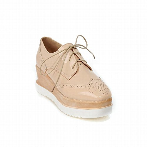 Latasa Womens Handmade Fashion Lace-up Platform Shoes, Wedge Shoes, Oxfords Shoes Apricot