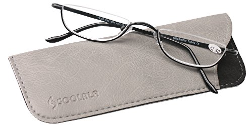 SOOLALA Vintage Designer Alloy Flat Top Half Frame Stylish Slim Reading Glasses, Black, - Lens Glasses Men Half Reading