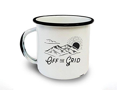 Retro Camping Mug - Off the Grid - Metal/Enamel Camping (Enamel Grid)