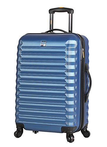 Lucas ABS Large Hard Case 28 inch Checked Suitcase With Spinner Wheels (28in, Steel Blue)