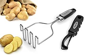 Spring Chef Stainless Steel Potato Masher with Easy to Use and Clean Wire Head Best for Mashed Potatoes