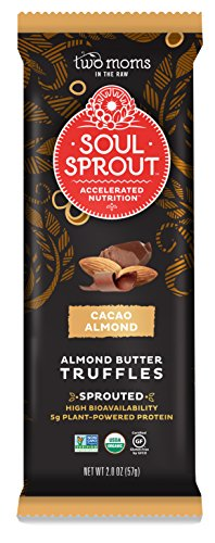 Soul Sprout, by Two Moms Sprouted Almond Butter Truffles, Cacao Almond Butter, 2 Ounce (Pack of 6) (Premier Hard Enamel)