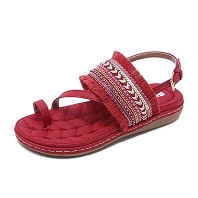 Super bang Women's Bohemian Sandal Elastic Back Strap Clip Toe Flats Sandals(red-Lable 35/4.5 B(M) US Women)