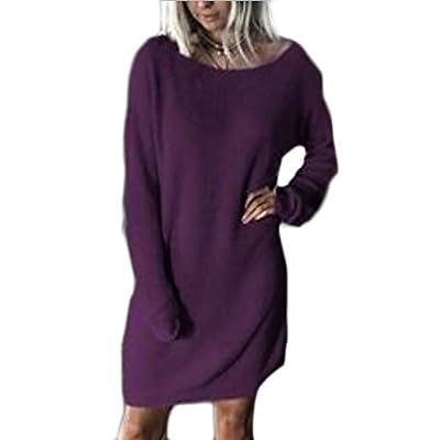 Top KLJR-Women Autumn Winter Solid Color Long Sleeve Loose Knit Dress