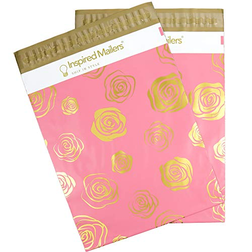 Inspired Mailers - Poly Mailers - Gold Roses Deluxe - 6x9, 10x13 and 14.5x19 Size Options (10x13)
