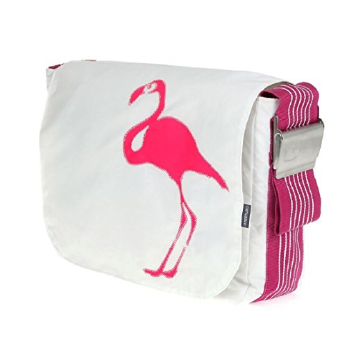 canvasco , Borsa Messenger  weiß pink