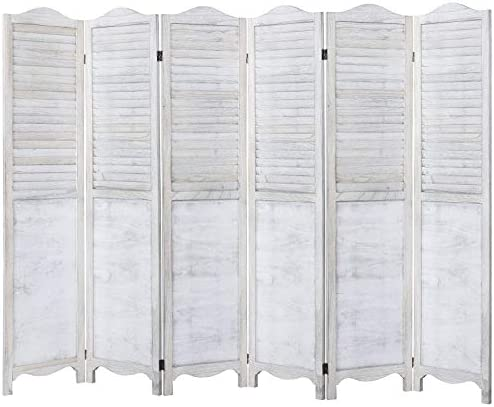 Rose Home Fashion RHF 5.6ft.Tall Vintage Rustic Design Wood Crafted Room Divider 6 Panl Panels Screen Folding Privacy Partition Wall Room Divider Wood Screen Freestanding 6 Panl-Panel 5.6-Feet,White