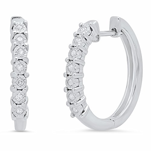 Sterling Silver Diamond Hoop Earrings (1/10 cttw, J-K Color, I2-I3 Clarity), 3/4'' Diameter ()