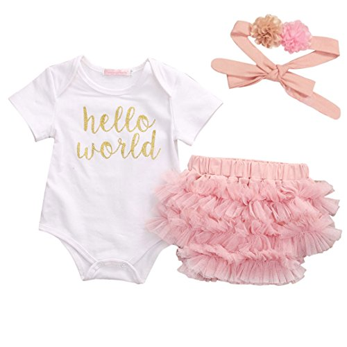 Honganda 3Pcs/Set Newborn Infant Baby Girl Hello World Romper+Tutu Shorts+Headband Outfit