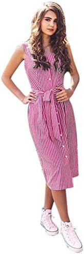 IEasⓄn Women Sleeveless Striped Button Long Dress,Woman Elegant Lace up Bandage Strap Single-Breasted Dress