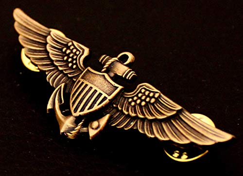 Quality Handcrafts - WW2 USN USMC US Marine Corps Pilot Aviator Wing Badge Pin Insignia - Accessories for Clothes ()