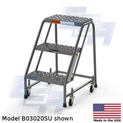3 Step Rolling Ladder by EGA Products - No Hand Rails [Made in the USA] - Industrial Rolling Ladder