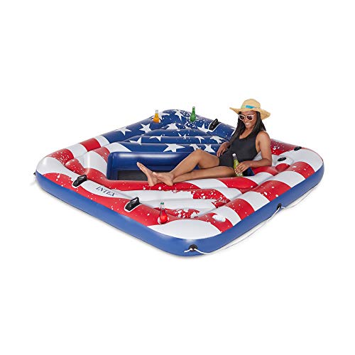 Intex 57264VM Inflatable American Flag 2 Person Party Island Lake Pool Float ()