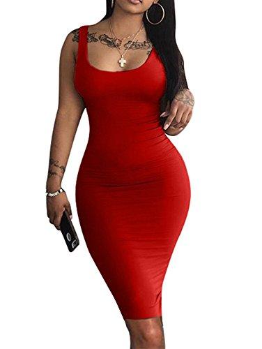 LAGSHIAN Women's Sexy Bodycon Tank Dress Sleeveless Basic Midi Club Dresses Red -