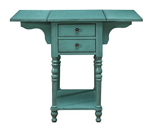 Treasure Trove 17306 Drop Leaf Two Drawer Accent Table, Green For Sale