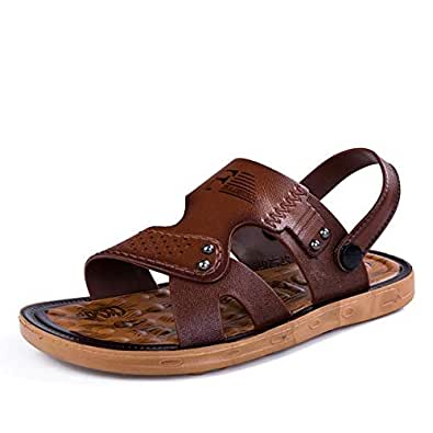 Xujw-shoes, Mens Outdoor Sandals Summer Water Beach Slipper Shoes for Men Antislip Fashion PU Leather Metal Metal Button Decoration Dual Purpose Open Toe (Color : Darkbrown, Size : 6.5 UK)