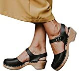 LAICIGO Women's Wood Clog Heeled Sandals Chunky Closed Toe Ankle Strap Buckle Slingback Studded Booties