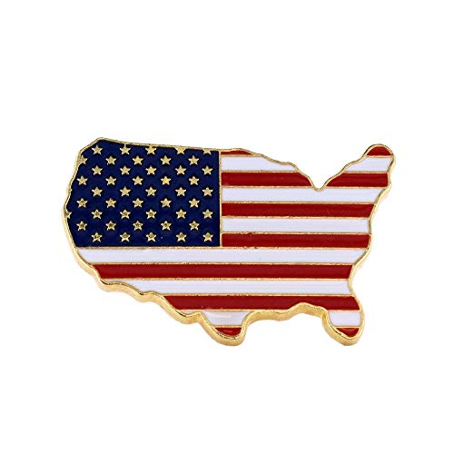 WIZARDPINS Made in USA Gold United States Outline American Flag Patriotic Lapel Pin (1 Pin)