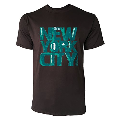 SINUS ART® New York City Logo Herren T-Shirts in Schokolade braun Fun Shirt mit tollen Aufdruck