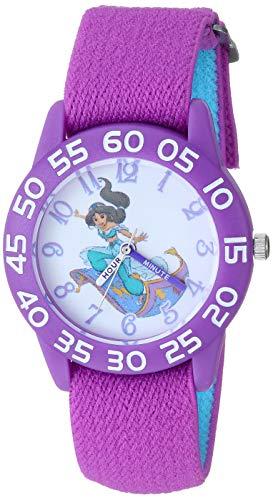 Disney Girls Aladdin Analog-Quartz Watch with Nylon Strap, Purple, 15.9 (Model: WDS000655