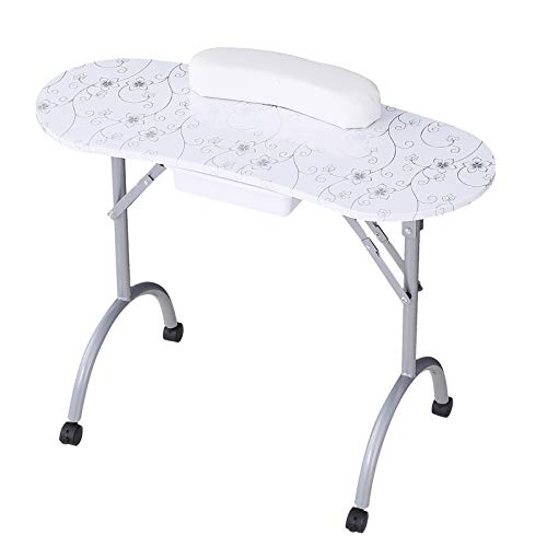 SUNCOO Manicure Nail Table Station Fordable Nails Desk Portable Spa Beauty Salon with Controllable Wheels, 27 Inches Height, White.