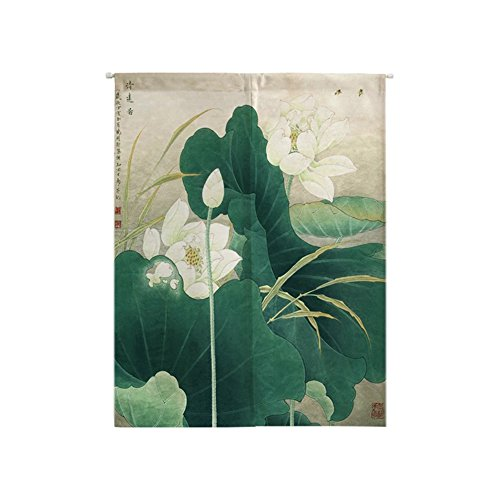 Oncefirst Tapestry Japanese Noren Linen Doorway Curtain lotus 6 25.5''X35.4''