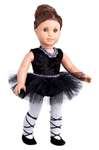 Black Swan - 3 piece ballerina outfit - Black Leotard, Tutu, Tights and Ballet Shoes - 18 inch Doll Clothes (doll not included)