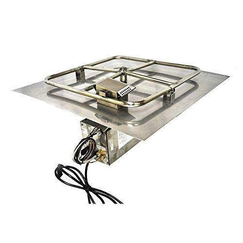 Hearth Products Controls (HPC CSA Approved On/Off HWI Electronic Ignition Fire Pit Kit (24FSSHWI-SQ-NG-120VAC), 18-Inch Penta Burner, 24x24-Inch Flat Pan, Natural Gas, 120V, Remote Control