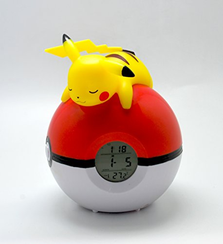 Teknofun-Pokemon-Lmpara-con-reloj-digital-y-radio-color-rojo-y-blanco