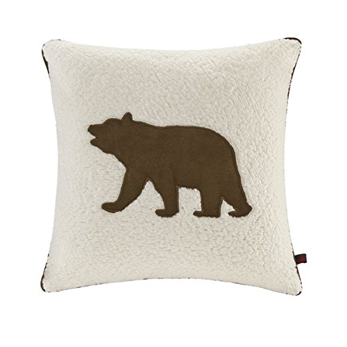 Bear White 18 Inch Square Berber Decorative Throw Pillow
