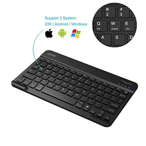 Arteck HB030B Bluetooth 3.0 Keyboard with Built in Rechargeable Battery, Black