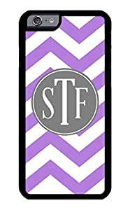 iZERCASE iPhone 6 Case Monogram Personalized Purple and White Chevron Pattern with Grey Circle RUBBER CASE - Fits iPhone 6 T-Mobile, AT&T, Sprint, Verizon and International (Black)