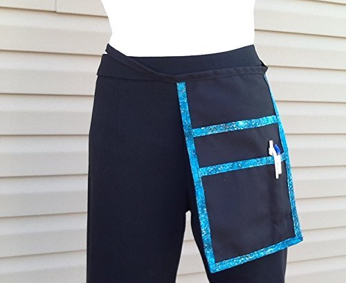 Black Hip Side Apron money Pouch Waitress pockets, Teal trim Restaurant Bars Cafes Janet