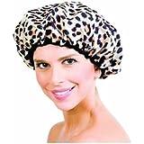 Betty Dain Safari Spots Shower Cap, Leopard Print/Beige Terry Lining