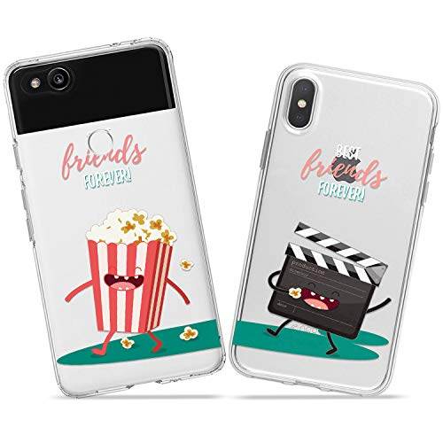 Wonder Wild Cinema Club Couple Case iPhone Xs Max X Xr 10 8 Plus 7 6s 6 SE 5s 5 TPU Clear Gift Apple Phone Cover Print Protective Double Pack -