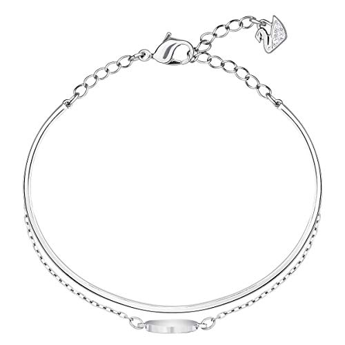 Swarovski Ginger Collection Women's Bangle Bracelet, Sparkling White Crystals with Rhodium Plated Band and Chain