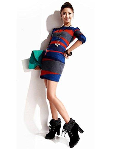 Bottes Chaussures Hauts Chaud Hiver Rond Femme Bout Minetom Lacer Talons Bottines Courtes Bottes Martin fSpqPp8wW
