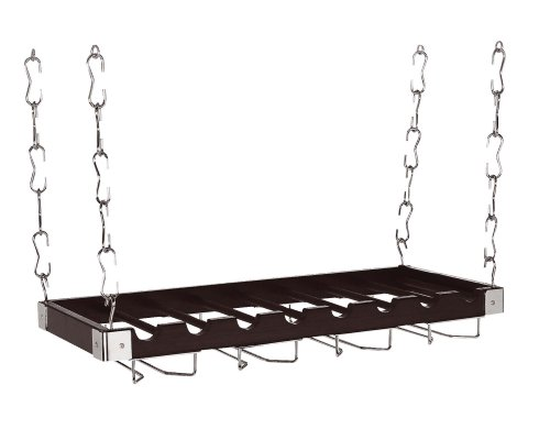 Concept Housewares WR-44528 Solid-Wood Ceiling/Wall-Mount Wine Rack, Charcoal Grey, 8 Bottle