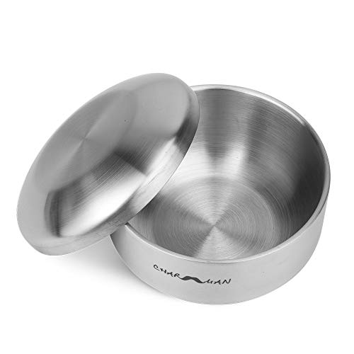 CHARMMAN Stainless Steel Shaving Soap & Cream Bowl with Lid | Three-walls Heat Preservation | Heavy Weight Steel (270g/ 0.59ib)