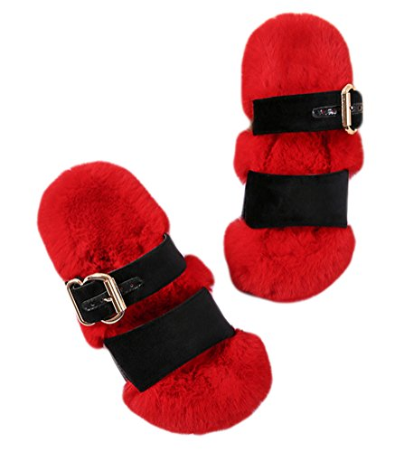 Auspicious beginning Trendy Faux Fur Ankle Strap Sandals Slippers Flat Peep-toe Shoes for Women and Ladies Red G455C8Edn