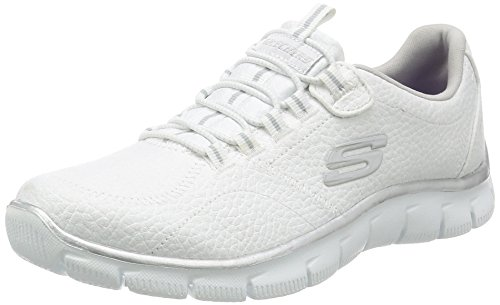 Skechers Women's Sport Empire - Rock Around Relaxed Fit Fashion Sneaker, White/Silver, 8.5 B(M) ()