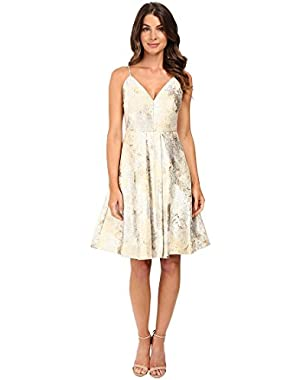 Womens Fit & Flare Brocade Dress CD6B1X8N