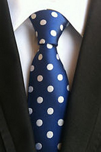 MINDoNG Necktie Polka Dot White Blue JACQUARD WOVEN Men's Tie GAG # 33294 (Bear Arms Costume)