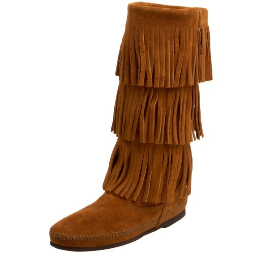 Minnetonka Women's 3-Layer Fringe Boot,Brown,6 M US - Hi Fringe Boot