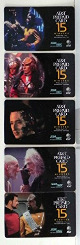STAR TREK THE NEXT GENERATION SET OF 5 COLLECTIBLE ATT PREPAID PHONE CARDS (Phone Cards Set)
