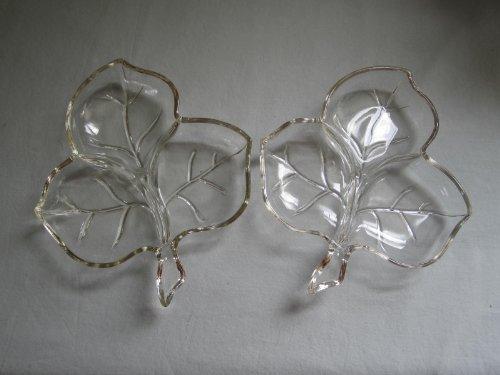 """Set of 2 - Hazel Atlas Glass Divided Shamrock/ Clover Leaf Candy Relish Serving Dishes 7"""" X 8"""""""