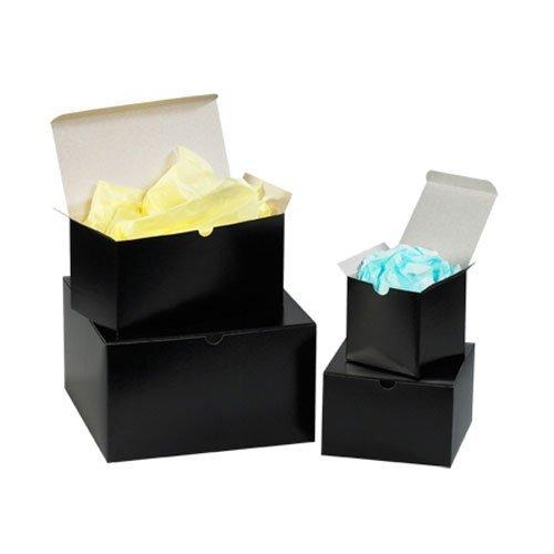 Aviditi GB664BK Fibreboard Gloss Gift Box, 6'' Length x 6'' Width x 4'' Height, Black (Case of 100) by Aviditi