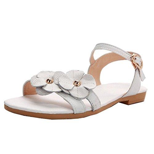 Dayiss Damen Sandalen mit Absatz Straß T-Strap Sommer Sandaletten Auslaufrabatt Weiß-Blumen
