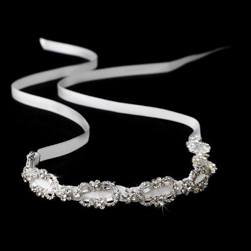 Satin Caprice - Caprice Silver White Rhinestones Bridal Ribbon Headband Tiara
