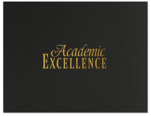 Successories 751554BK Academic Excellence Linen Certificate Folders, Black